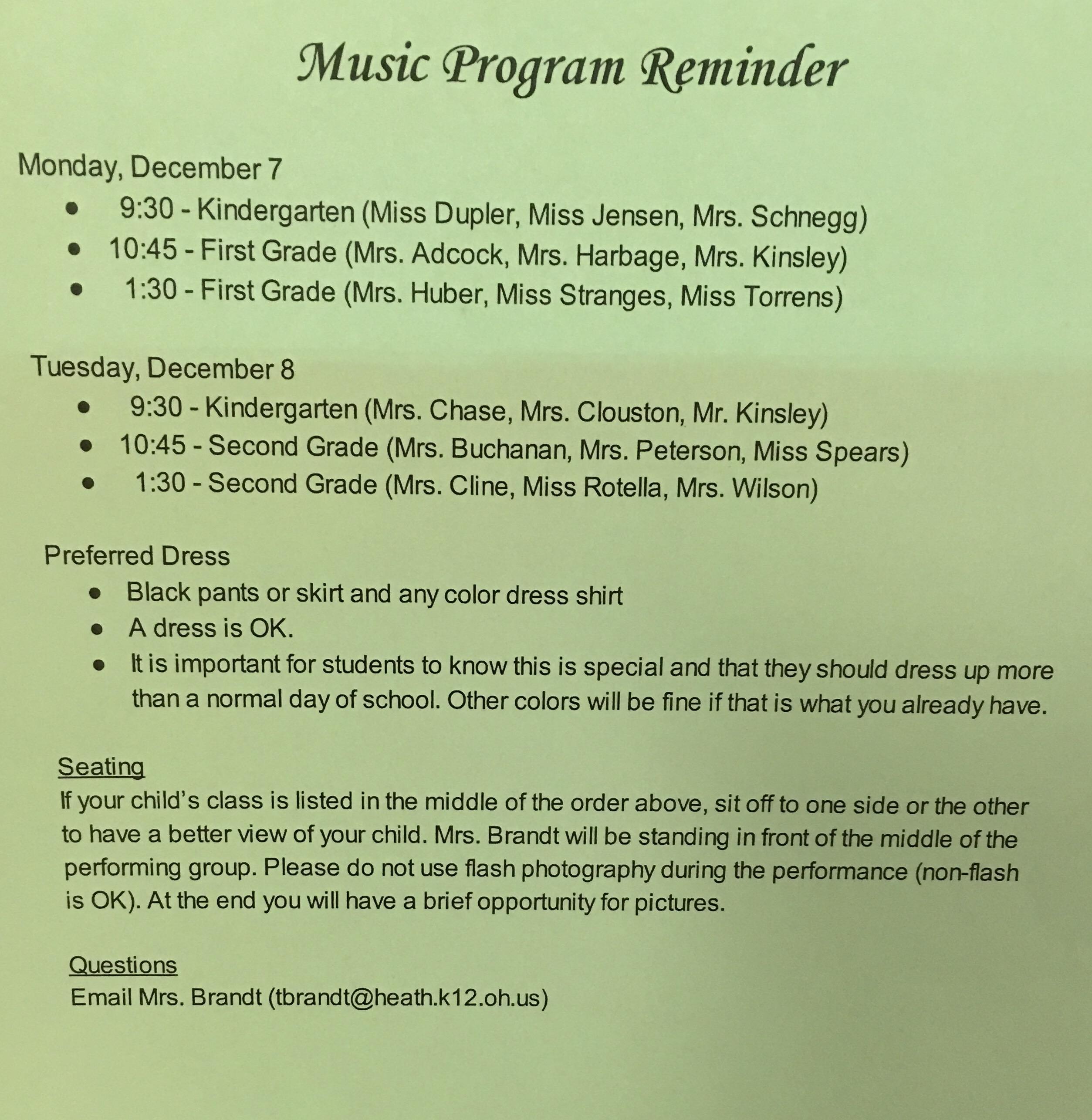 Music Program Reminder and Homework | Mr. Kinsley\'s Kindergarten Website