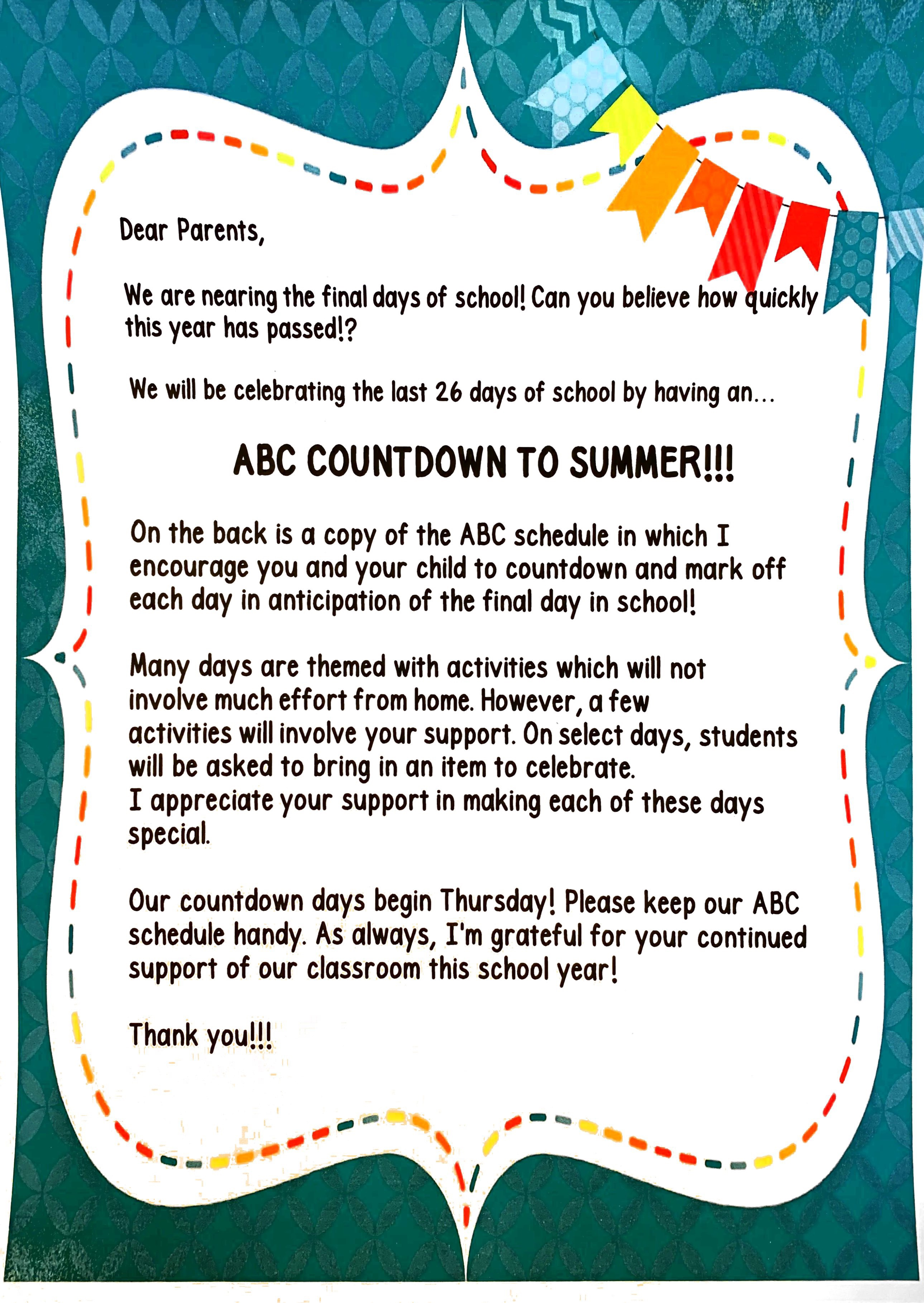 End of KG Celebration Schedule | Mr  Kinsley's Kindergarten